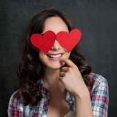 Happy Shy Woman In Love — Stock Photo