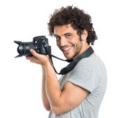 Young Man Holding Reflex — Stock Photo
