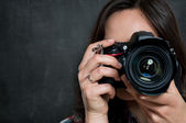 Closeup Of Woman With Camera — Stock Photo