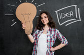 Woman Thinking A Big Idea — Stock Photo