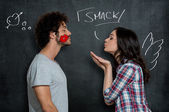 Woman Giving Flying Kiss To Man — Stock Photo