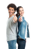 Young Couple Showing Thumb Up — Stock Photo