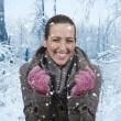Stock Photo: Womand snowfall