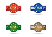 Color set big sale shield — Stock Vector
