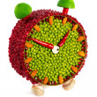 Fruit and vegetable volume clock — Foto Stock