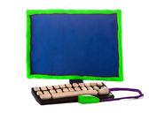 Plasticine handmade computer — Stock Photo