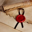 Old paper, ancient parchment scroll, envelope with wax seal and quill pen — Stock Photo #26183773