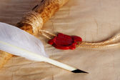 Old paper, ancient parchment and quill pen — Foto Stock
