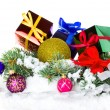 Foto Stock: Christmas border with decoration, New Year's toys