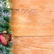 Christmas border with decoration, ornament  on a wooden background — Stockfoto