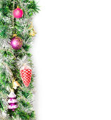 Christmas border with decoration — Stock Photo