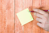 Blank note, paper stick — Stockfoto