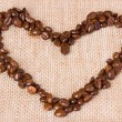 Coffee beans. Heart of coffee beans — Zdjęcie stockowe