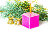 Christmas decoration with candles and bells — Stock Photo