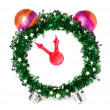 Christmas clock, new year, hand made — Stock Photo