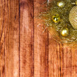 Stock Photo: Christmas border with decoration, ornament on wooden background