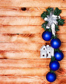 Christmas border with decoration, ornament on a wooden background — Stok fotoğraf
