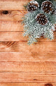 Christmas border with decoration, ornament on a wooden background — Стоковое фото