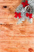 Christmas border with decoration, ornament on a wooden background — Photo