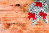 Christmas border with decoration, ornament on a wooden background — ストック写真