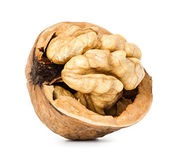 Walnut half isolated on the white background — Foto de Stock