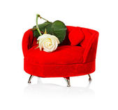 Red sofa, couch — Stock Photo