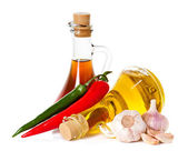 Spices and oil, pepper chili. Ingredients for cooking — Stock Photo