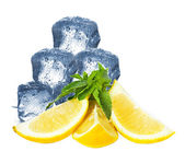 Ice, lemon and mint isolated — Foto Stock