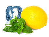 Ice, lemon and mint isolated — ストック写真