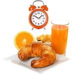 Breakfast with croissant, orange juice — Stock Photo #43720683