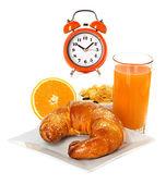 Breakfast with croissant, orange juice — Stock Photo