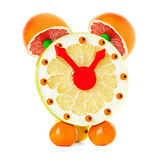 Fruit and citrus volume clock isolated on a white background — Stock Photo