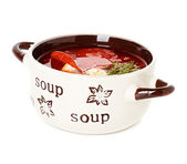 Solyanka, Russian soup and sour cream — Stock Photo