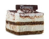 Tiramisu, cake isolated on white — Stock Photo