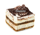 Tiramisu, cake, isolated on white background — Stock Photo