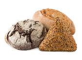 Assortment of baked goods isolated on white background — Stock Photo