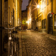 Empty street in Stockholm Old town at night. — Stock Photo