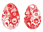 Vector easter egg with red hohloma ornament — Stock Photo