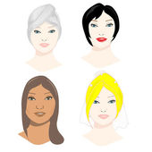 Female faces set — Stock Photo