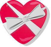 Big glossy red heart with bow — Stock Photo