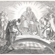 Mephisto in front of God and the three archangels in Faust — Stock Photo