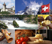 Schweiz landmark collage — Stockfoto