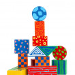 Colorful wooden block building - Foto Stock