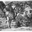 Goethe's Faust: Faust and Gretchen in the garden, Mephisto listens — Stock Photo