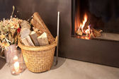 Fireplace at home — Stock Photo