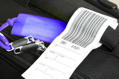 Traveling luggage with check-in label — Stock Photo