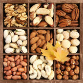 Assorted nuts in a wooden box — Stock Photo