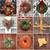 Door Wreath collage — Stock Photo