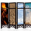 Stock Photo: The four basic elements of fire, earth, air and water
