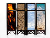 The four basic elements of fire, earth, air and water — Stock Photo
